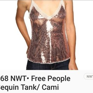 FREE PEOPLE SEQUIN/LACE CAMI NWT $68